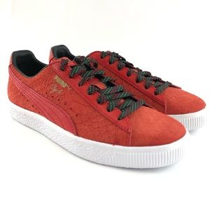Puma Clyde Red Suede Leather Rasta Sneakers Shoes